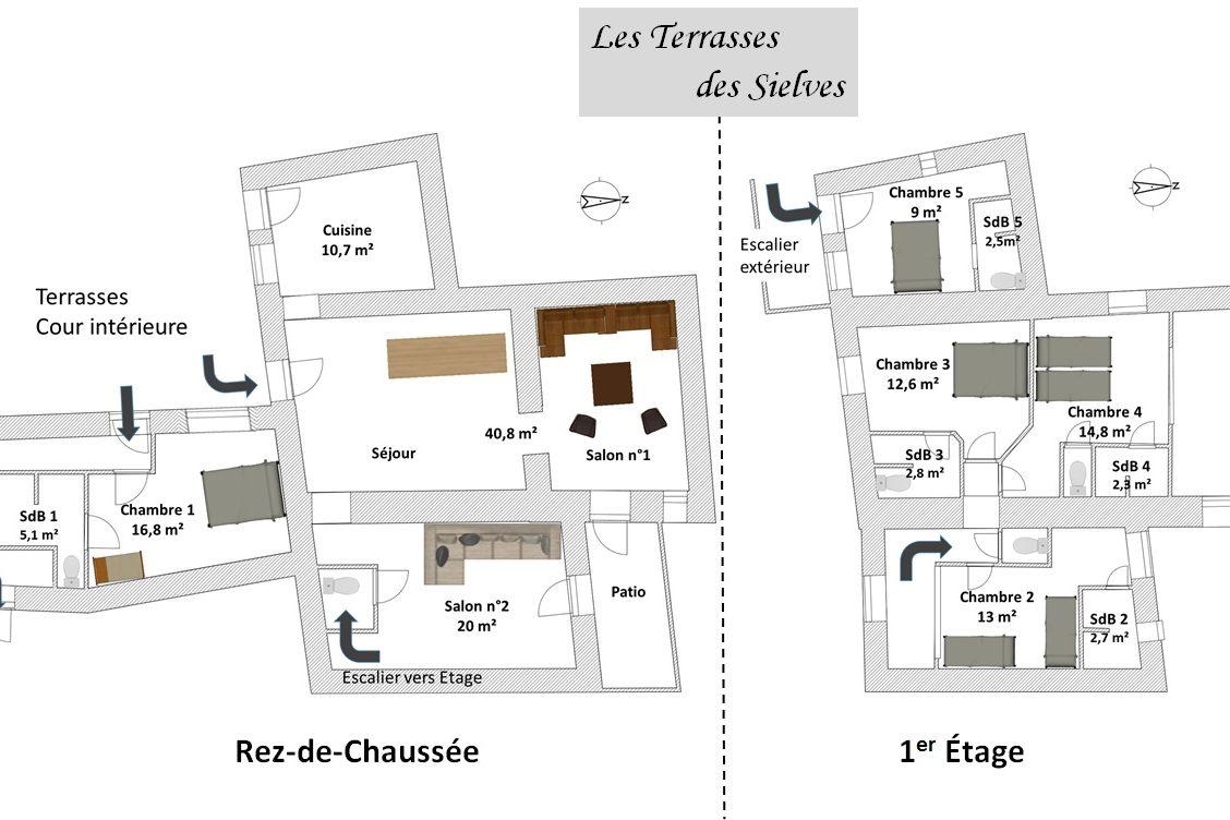 Plan du Gite Les Terrasses des Sielves