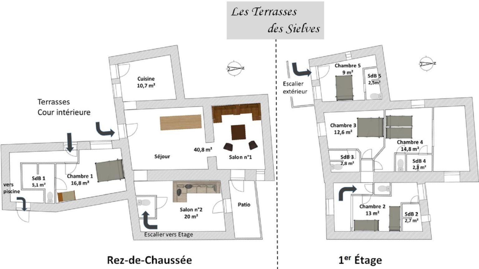 Les Terrasses des Sielves - Plan der Räumlichkeiten